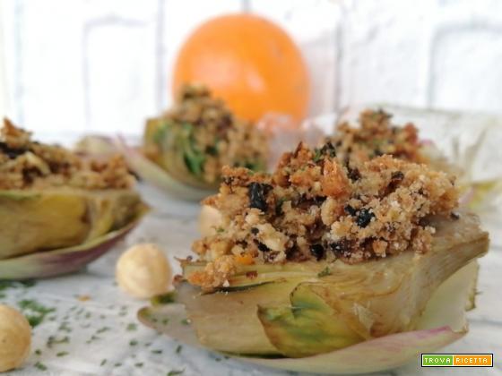 Carciofi in granella di nocciole e arancia