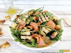 Insalata di melanzane, rucola e salmone