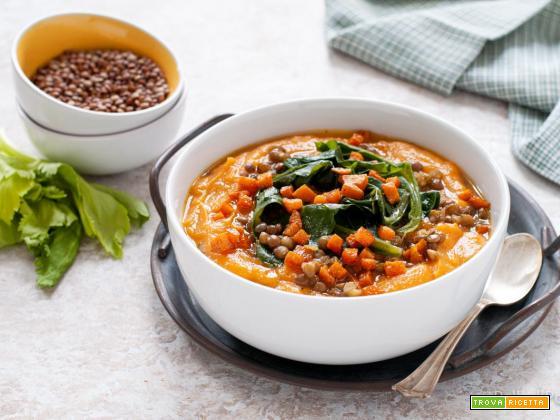 Zuppa di patate dolci e lenticchie