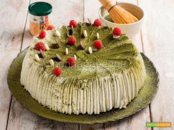 Angel cake con tè matcha, una torta deliziosa e colorata