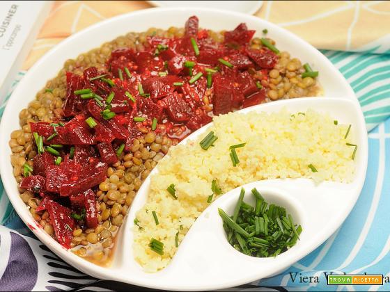 Rapa rossa speziata con lenticchie e couscous