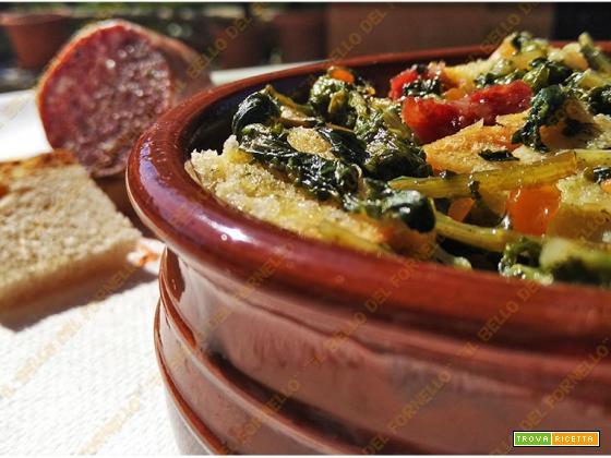 Pancotto con verdure miste e salame