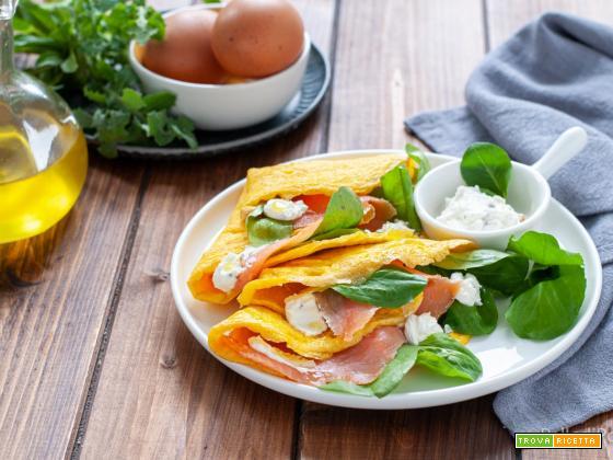 Omelette con salmone affumicato ed erbette