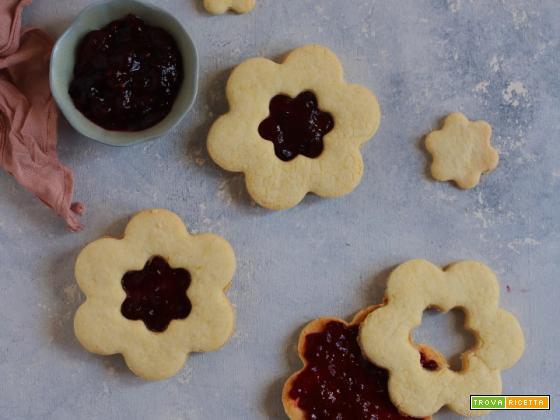 Biscotti occhio di bue con frolla senza glutine e senza burro