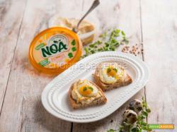 Crostini con uova di quaglia e hummus, un break inedito