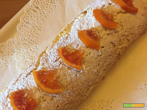 Rotolo di Pan di Spagna con crema di ricotta e marmellata