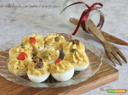 Uova sode farcite con tonno e yogurt greco