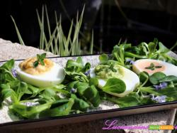 Uova ripiene con tre salse