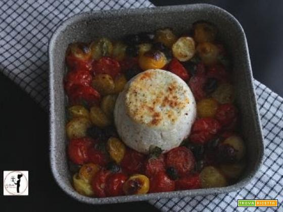 Ricotta, pomodorini e olive in friggitrice ad aria