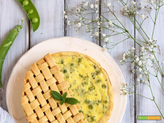 Torta salata con piselli e robiola
