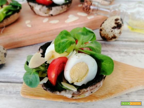 Cestini di portobello con uova di quaglia