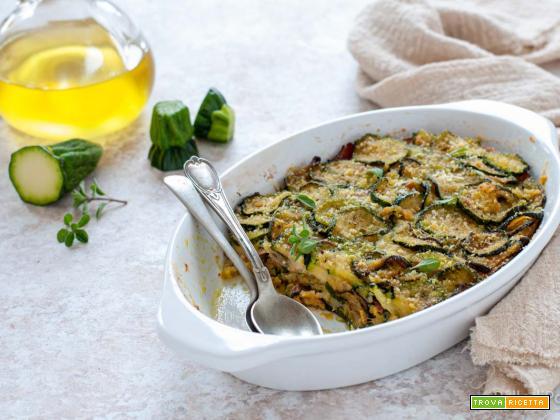 Zucchine gratinate alle erbe con pangrattato e provola