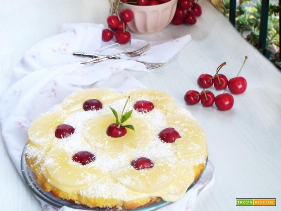 Torta in padella con marmellata e crema
