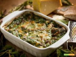 Lasagna con erbe spontanee, un piatto colorato e leggero