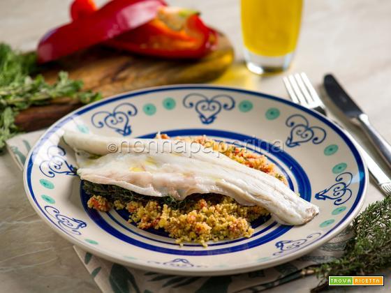Cous cous con peperoni e branzino, piatto unico