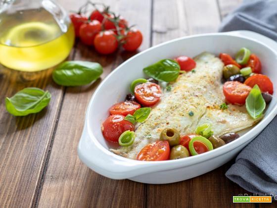 Filetti di orata con pomodorini e olive