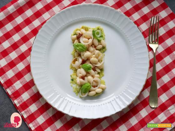 Fagioli Cannellini su crema di broccoli, pomodori secchi e basilico