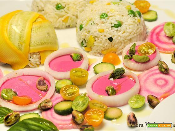 Carpaccio di rape di Chioggia  e mucchietti di riso