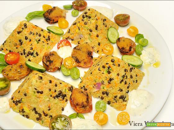 Piramidi di couscous con le verdure dell'orto