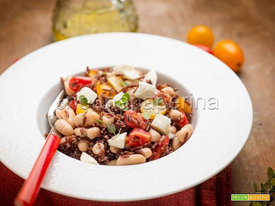 Insalata di riso rosso con cannellini, un piatto proteico