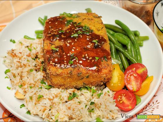 Tofu gratinato con riso al cocco e salsa kuzu