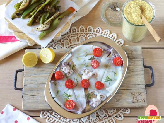 Cous cous verdure grigliate e calamari in forno