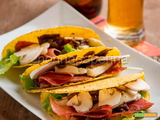 Tacos con speck e funghi, un fast food al top