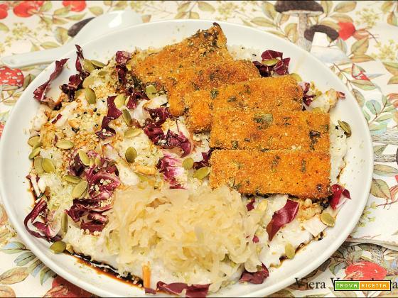 Congee di riso e bastoncini di zucca gratinata