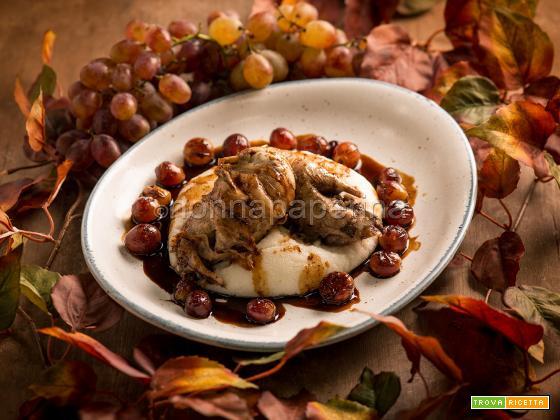 Pernice rossa con uva e polenta, un secondo agrodolce