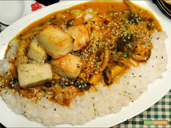 Crema di riso con funghi e tofu croccante senza glutine