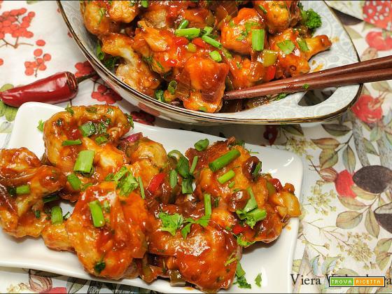 Manchurian gobi cavolfiore in salsa piccante